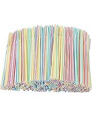 Xyedyaup 400 stuks rietjes dikke kinderrietjes kleurrijke drinkrietjes cocktailparaplu's herbruikbaar stro flexibele gebogen voor party's bar-drankjes bruiloften en alle gelegenheden