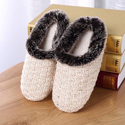 Femmes Coton intérieure Plus Beige de Pantoufles Pantoufles Maison Maison Automne de Hiver Floor Cachemire Tissage ZAZpUawnx