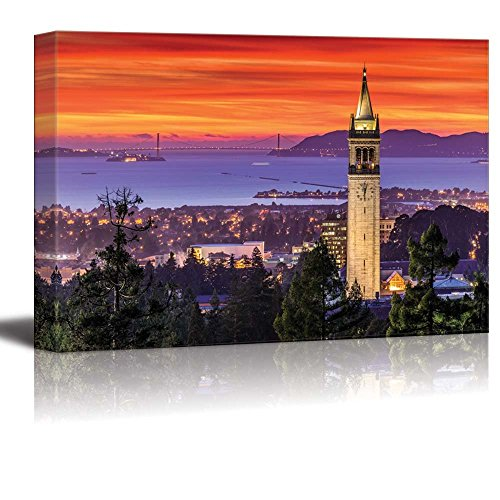 wall26 - Canvas Prints Wall Art - Dramatic Sunset Over San Francisco Bay and The Campanile   Modern Wall Decor/Home Decoration Stretched Gallery Canvas Wrap Giclee Print. Ready to Hang - 32
