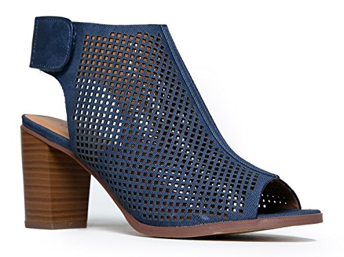 Perforated Peep Toe Velcro Back Cutout Stacked Heel Bootie 8.5