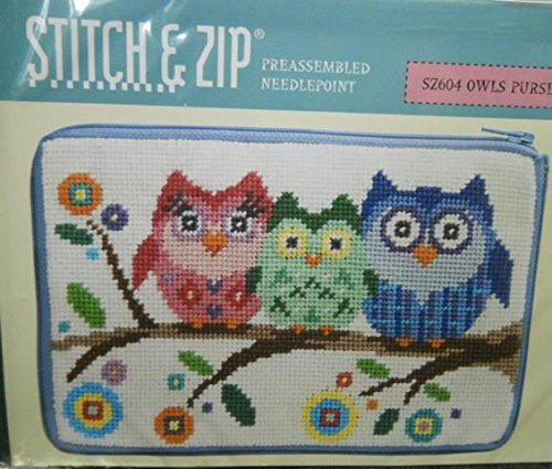Stitch and Zip Cosmetic Purse Needlepoint Kit SZ 604 Owls (Stitch Craft Needlepoint)