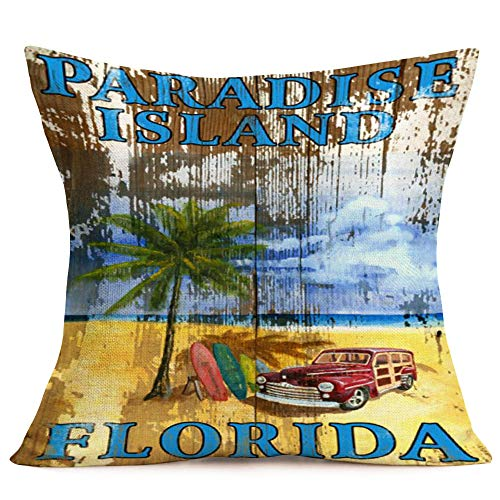 Asamour Vintage Wood Summer Beach Style Home Decor Pillowcase Funny Sea Beach with Letters Words Throw Pillow Case Holiday Decorative Cushion Cover,Linen,18''x18'' (Paradise Island Florida)