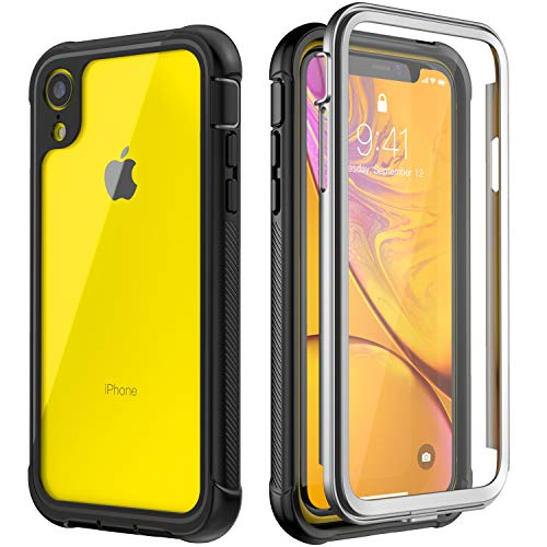 iPhone XR Case, SNOWFOX 360 Degree Premium Hybrid Protective Clear Case for Apple iPhone XR 6.1 Cases inch 2018 Release (Black) (Black/Clear) ()