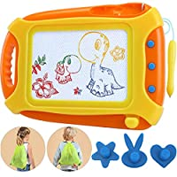 Wellchild Magnetic Drawing Board for Toddlers,Travel Size Toddlers Toys Colorful Erasable A Etch Toddler Sketch Magnetic Doodle Board with One Carry Bag