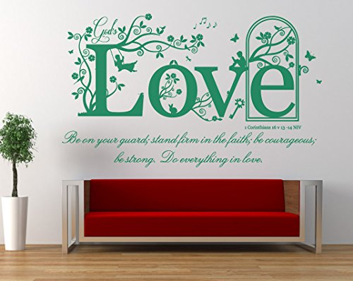 1 Corinthians 16 v 13-14, NIV Christian Bible Verse Quote. Vinyl Wall Art Sticker, Mural, Decal. Home, Church, School Decor. Dimensions of sticker: 47 1/4
