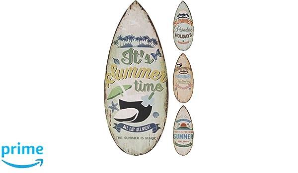 Elyte - Letreros Decorativos de Pared de Madera con diseño de Tabla de Surf en 4 diseños, Verano, paraíso Tropical, Vacaciones de paraíso y Vacaciones de ...