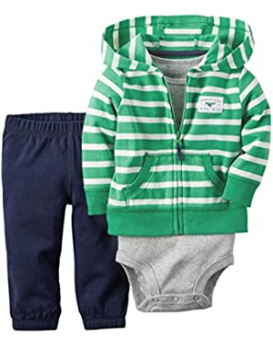 Carter's 3-Piece Striped Cardigan Set, Gray/Green, 3 Months