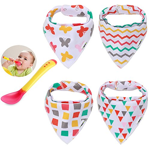 Bandana Bibs Drool Bib Set, Organic, Unisex - Stylish Pack of 4 with a Heat Sensing Spoon - Best for Baby Shower Announcement Party Newborn Registry & Gift Baskets By Elefuntot