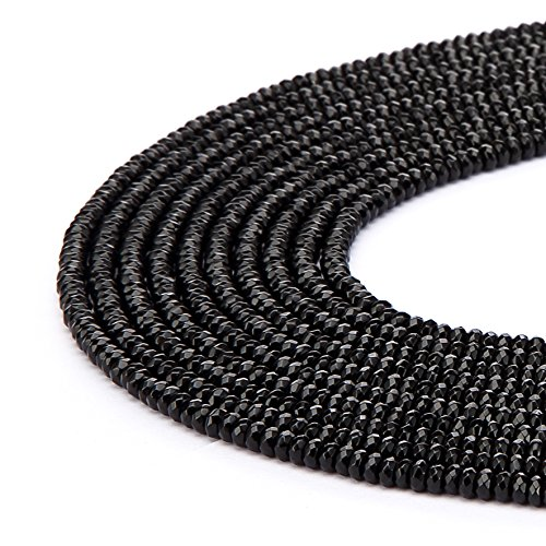 Faceted Bead Onyx - BRCbeads Black Onyx Gemstone Faceted Rondelle Loose Beads 5x8mm Approxi 15.5 inch 80pcs 1 Strand per Bag for Jewelry Making