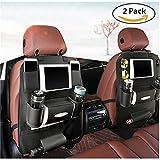 K&K back seat car organizer Backrest Protection Car Seat Organizer PU Leather – Protective Car Seat Back Organiser Kick Mats 7 separate compartments (double)