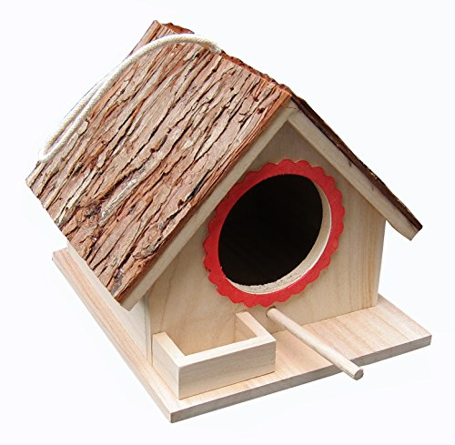 (Tree Bark Roof Bird Feeding House, Bird Nesting Box, Assembled(READY TO USE),for Big Birds Like Cockatiel, Budgie, Parakeet, Dove as well as Small Birds Wren and Chickadee Species, Bluebirds etc)