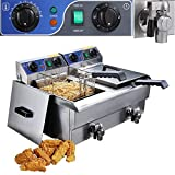 GHP Dual Tank 20L Commercial Electric Stainless Steel Deep Fryer w Timer Drain