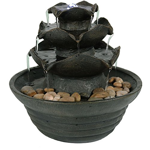- Sunnydaze Contemporary 3-Tiered Flower Petal Tabletop Water Fountain with LED Light