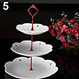 HEART SPEAKER 3 Tier Hardware Crown Cake Plate Stand Handle Fitting Wedding Party Table Decor (Red)