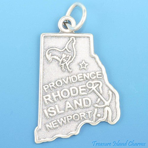 Rhode Island State Map Providence Newport .925 Sterling Silver Charm Pendant Ideal Gifts, Pendant, Charms, DIY Crafting, Gift Set from Heart by Wholesale Charms