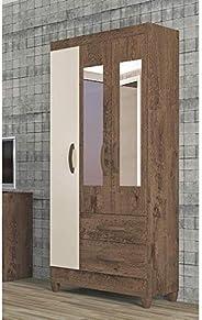 Guarda Roupa Solteiro com Espelho 3 Portas 2 Gavetas Real Light Atualle Móveis Mocaccino Rústico/natura Off Wh