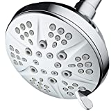 NOTILUS Giant High-Pressure 6-setting 4.3'' Face Modern Luxury Spa Shower Head - Solid Brass Metal Connection Nut, Angle-Adjustable Ball Joint, Anti-Clog Jets, All-Chrome Finish,
