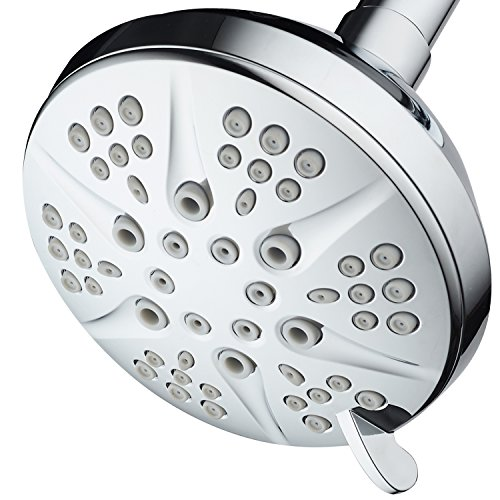 NOTILUS Giant High-Pressure 6-setting 4.3'' Face Modern Luxury Spa Shower Head - Solid Brass Metal Connection Nut, Angle-Adjustable Ball Joint, Anti-Clog Jets, All-Chrome Finish, by HotelSpa