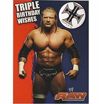 Wwe Wrestling Triple H Birthday Card With Badge 5x7 Amazon