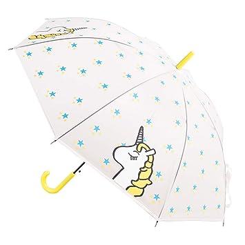 Paraguas Largo Transparente - Paraguas Transparente de Unicornio - a Prueba de Viento y a Prueba de