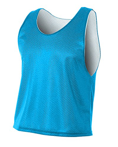 Field White Jersey - Mid Reversible Mesh Pinnies for Lacrosse,Soccer,Field Hockey (Carolina Blue, Youth Large)