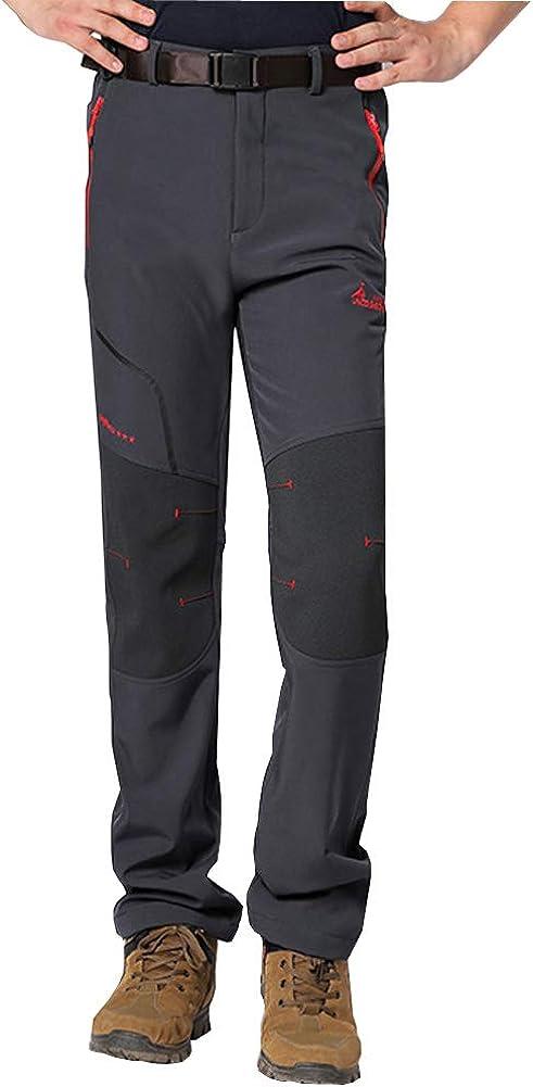 WANPUL Pantalon Softshell Hombre Pantalones de Monta/ña Impermeable Pantalon Trekking Caliente Pantalones Invierno