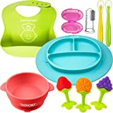 Baby Feeding Set - Silicone Baby Plates and Baby Dishes - Silicone Bibs - Suction Silicone Bowl and Dishes for Toddlers - Includes Toothbrush and Teethers (8 Pieces)