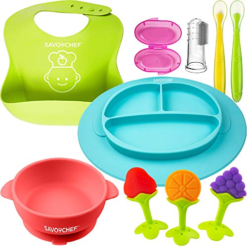 Baby Feeding Set - Silicone Baby Plates and Baby Dishes - Silicone Bibs - Suction Silicone Bowl and Dishes for Toddlers - Includes Toothbrush and Teethers (8 Pieces) from Savoychef