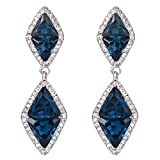BriLove Women's Wedding Bridal Crystal Multi Triangle Formed Rhombus Infinity Figure 8 Dangle Earrings Blue Topaz Color Silver-Tone