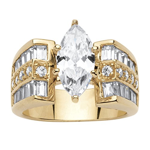14k Kite Gold (14K Yellow Gold over Sterling Silver Marquise Cut Cubic Zirconia Engagement Anniversary Ring Size 5)