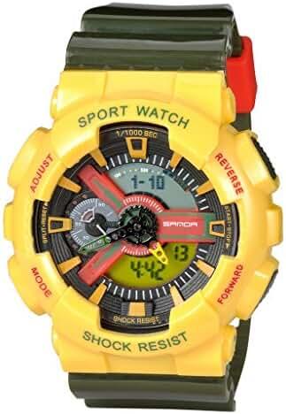 Kid's Dual Dial Analog Digital Watch Chronograph Sport Wrist Watch Yellow+Green