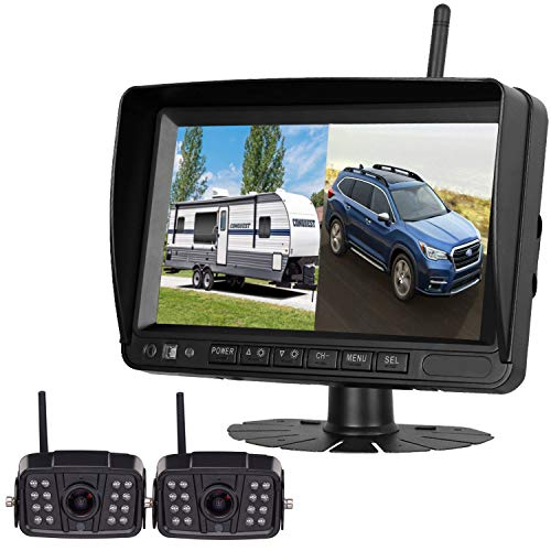 "Digital Wireless Dual Backup Camera HD 1080P 2019 Vision 7""DVR Monitor Kit for RVs,Trucks,5th Wheels Support Split/Quard View Screen High-Speed Observation System IP69K Waterproof Driving/Reverse"