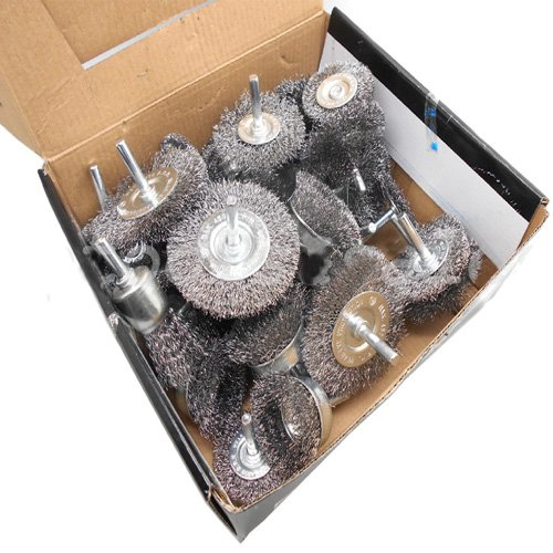 40pc Wire Wheel Brush Cup Assortment Crimped Steel 1//4 Shank Drills Rust Scale Simply Silver