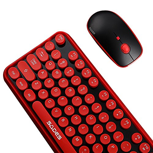 SADES V2020 Wireless Keyboard and Mouse Combo,Keyboard with Round keycaps 2.4GHz Dropout-Free Connection Long Battery Life for PC//Laptop /¡/
