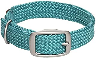 product image for Mendota Pet Double Braid Collar - Satin Nickel - Dog Collar - Made in The USA - Teal , 9/16 in x 14 in Junior