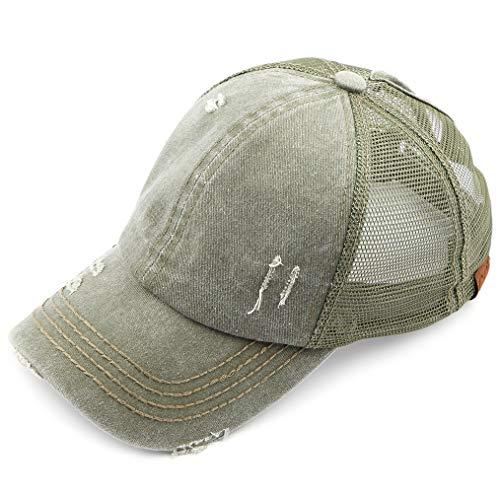 C.C Hatsandscarf Exclusives Washed Distressed Cotton Denim Ponytail Hat Adjustable Baseball Cap (BT-13) (Khaki)