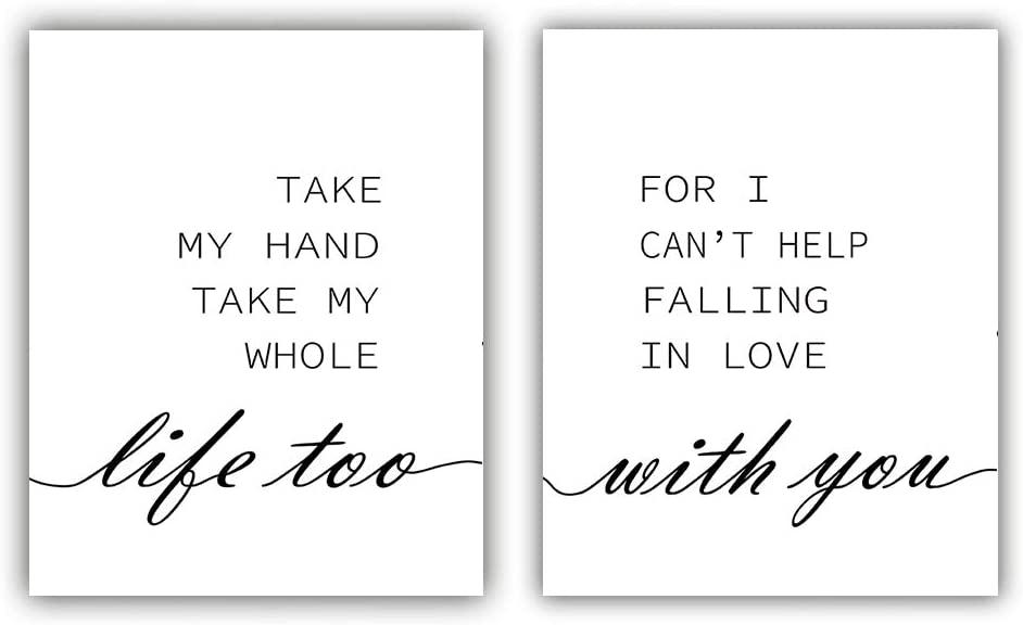 """Black White Inspirational Quote and Saying Modern Minimalist Art Painting,Set of 2 (8""""X10"""" Canvas Picture),I Love You Art Print,Motivational Phrases Wall Art for Bedroom or Room Home Decor,No Frame"""