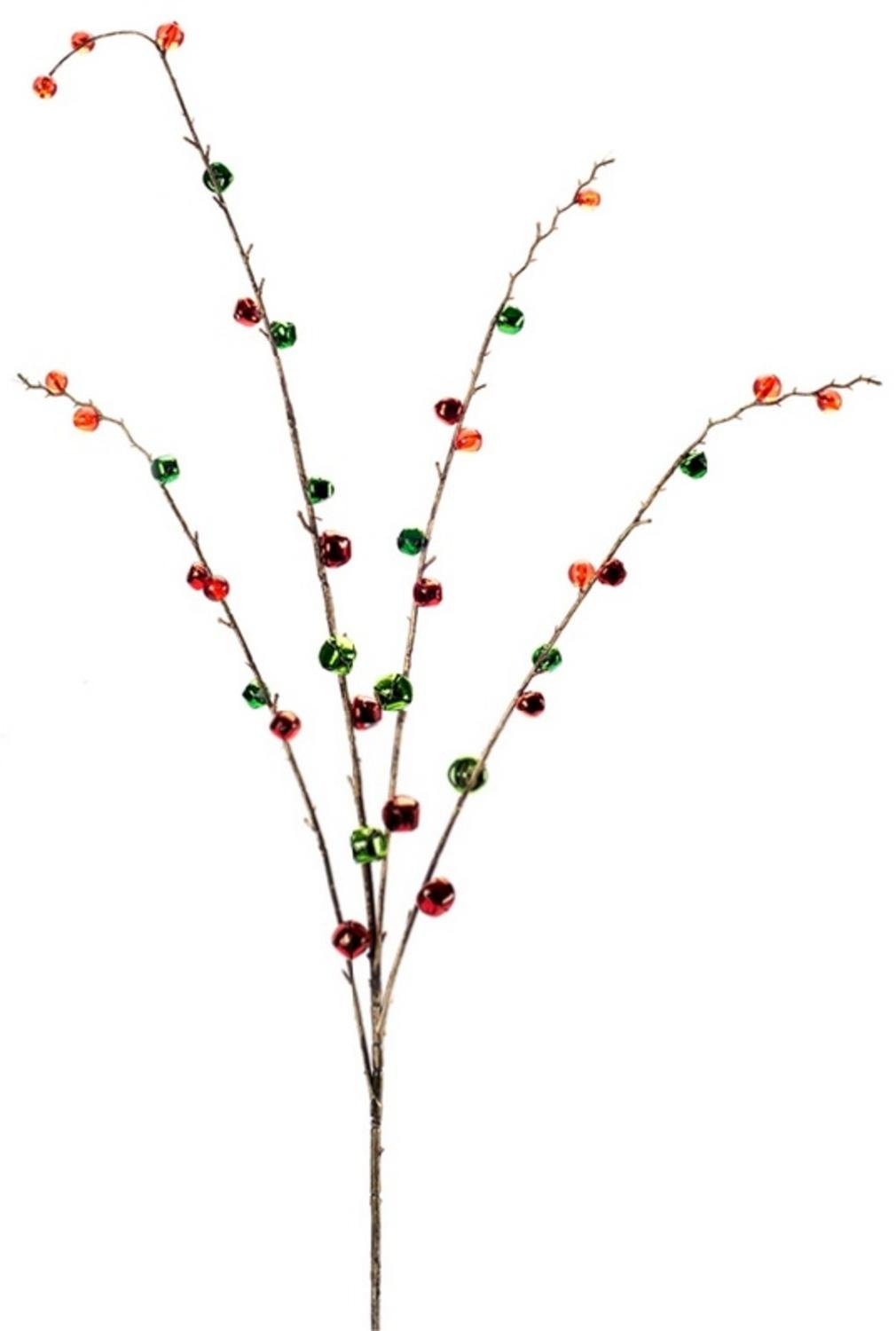 Pack of 12 Artificial Snowy Christmas Branches with Green, Red and Orange Bells 34''