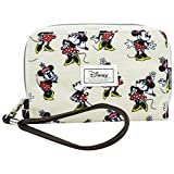 DISNEY Minnie Ivory - Women's Wallet with Wrist Handle - Zip Lock and Metallic Button - Color Beige