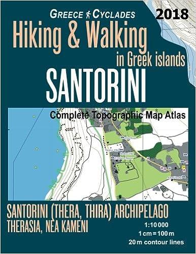 Santorini Greece Cyclades Complete Topographic Map Atlas Hiking