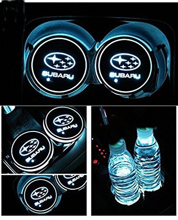 JSAMZ Car Logo LED Cup Pad Led Cup Coaster USB Charging Mat Luminescent Cup Pad LED Mat Interior Atmosphere Lamp Decoration Light For Subaru Accessories