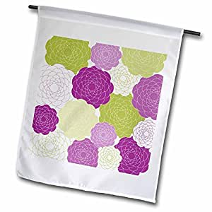 PS Fun Art - Lime and Pink Flowers - Floral Art - 18 x 27 inch Garden Flag (fl_63464_2)