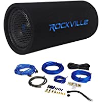 Package: Rockville RTB80A 8 400 Watt Peak/250 Watt RMS Enclosed Vented Powered Car Bass Tube Subwoofer + Rockville RWK81 8 Gauge 2 Channel Complete Wire Kit With RCA Cable