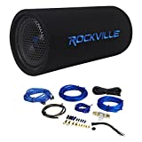 Package: Rockville RTB80A 8'' 400 Watt Peak/250 Watt RMS Enclosed Vented Powered Car Bass Tube Subwoofer + Rockville RWK81 8 Gauge 2 Channel Complete Wire Kit With RCA Cable