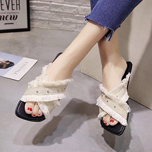 de arrastrar zapatillas la cuadrada y de las de de planos borla libre aire lona palabra sandalias white zapatos mujeres cabeza zapatos de meters PUqwSE