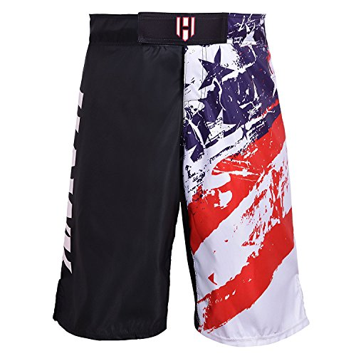 Hawk MMA Training UFC Shorts - Cage Fight Grappling Muay Thai Boxing Martial Arts Clothing Uniform - UFC PRO Grappling Cage Muay Thai/Kick Boxing (White, (Split Seam Fight Shorts)