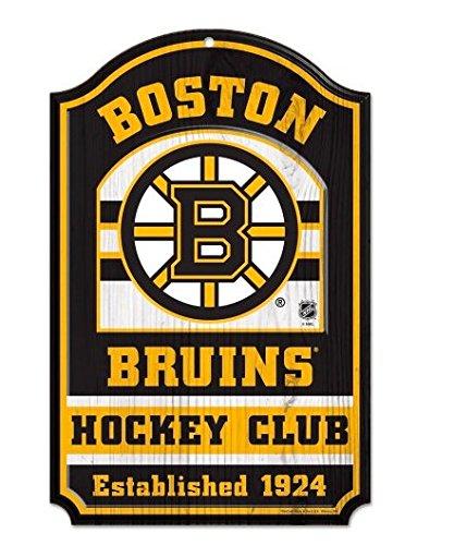 Boston Bruins Official NHL Hockey Club 11 by 17 inch Wood Sign - Club Wood Sign