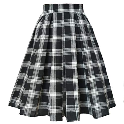 (T-Crossworld Women's A Line Midi Knee Length Plaid Japanese School Girl Plaid Uniform Skirt with Pockets Plaid(Black &White) Large)