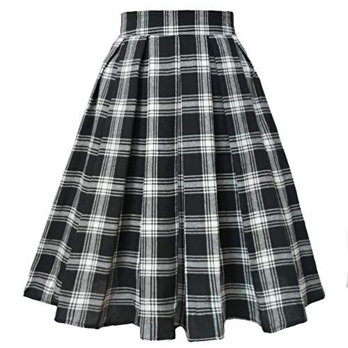 Plaid Skirt Apparel School (T-Crossworld Women's A Line Midi Knee Length Plaid Japanese School Girl Plaid Uniform Skirt with Pockets Plaid(Black &White) Small)