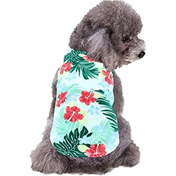 700fa0ecdddeb Mihachi Dog Hawaiian T Shirts, Cotton Summer Clothes Vest,Apparel Costumes  for Pets Large